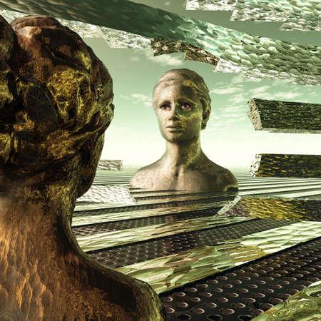 mujer mirando el horizonte: En el espejo del tiempo, Chica el pasado considerado