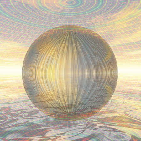 anodized: Semi-transparent metal ball in a spherical environment Stock Photo