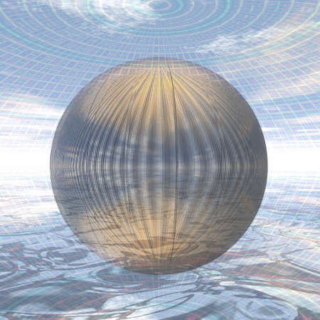 metal ball: Semi-transparent metal ball in a spherical environment Stock Photo