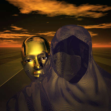 The true face hiding behind a mask photo