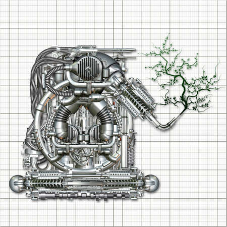 young tree: A fantasy machine produces a young tree