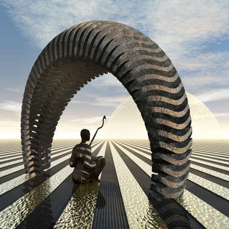 meditation man: sitting man in meditation under an archway