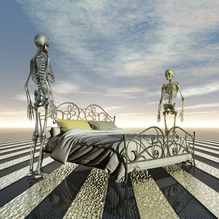 challenging sex: two skeletons with marital problems sharing a bed Stock Photo