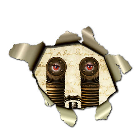 ripped metal: A Cyborg observed through a torn paper