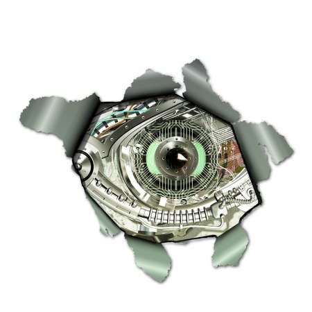 looking through an object: A Cyborg observed through a torn paper
