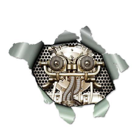 A Cyborg observed through a torn paper