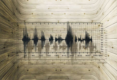 Uneven frequencies in a closed cavity made of wood Stock Photo