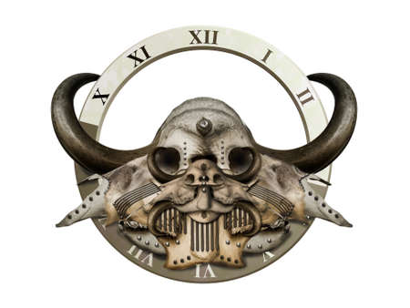 horns: mysterious skull with sharp horns and dial Stock Photo