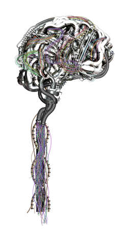 A mechanical brain is connected with colored cables