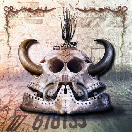 threaten: twofold mysterious skull with sharp horns Stock Photo