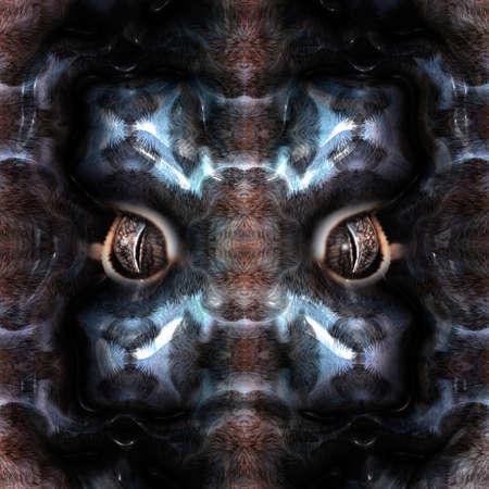 creepy alien: Closeup of a mystical creature in fur