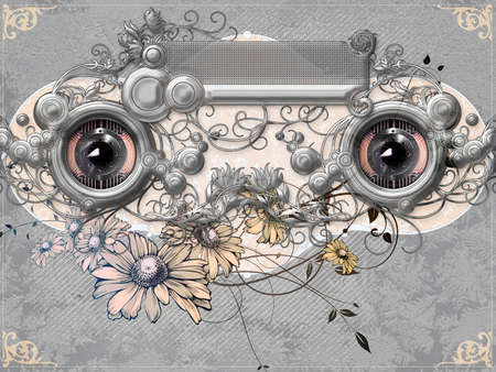 ornamented: Two ornamented eyes in direct eye contact Stock Photo