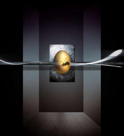 L'uovo d'oro che galleggia al centro Archivio Fotografico - 57027739
