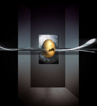 The golden egg floating in the center