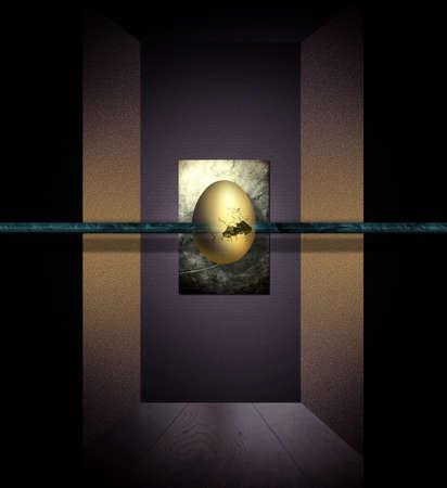 golden egg: The golden egg floating in the center