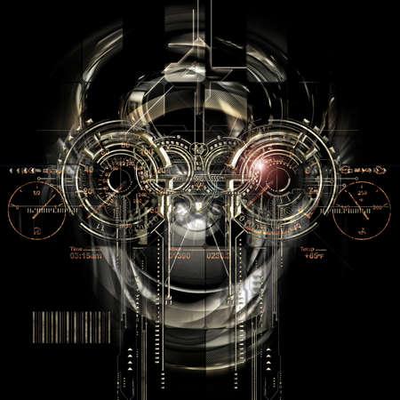 Vista frontale di un volto cyborg futuristico Archivio Fotografico - 57402237