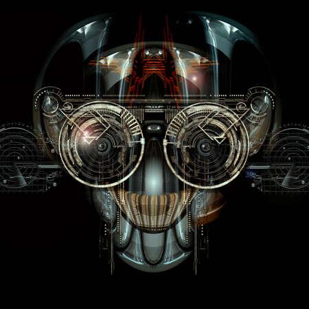 Vista frontale di un volto cyborg futuristico Archivio Fotografico - 57775045