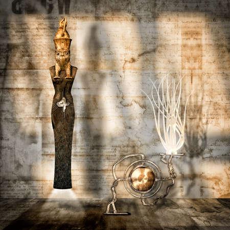 surrealistic: surrealistic representation of the Egyptian god osiris