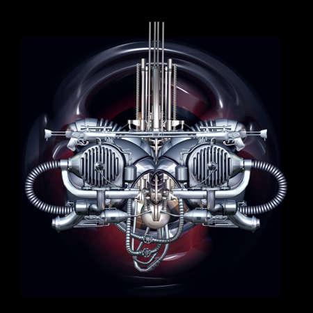 Vista frontale di un volto cyborg futuristico Archivio Fotografico - 58422108