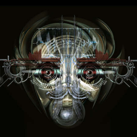 cybernetics: Front view of a futuristic cyborg face Stock Photo