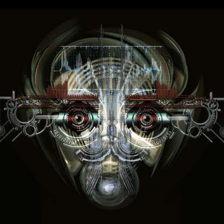 Vista frontale di un volto cyborg futuristico Archivio Fotografico - 58422112