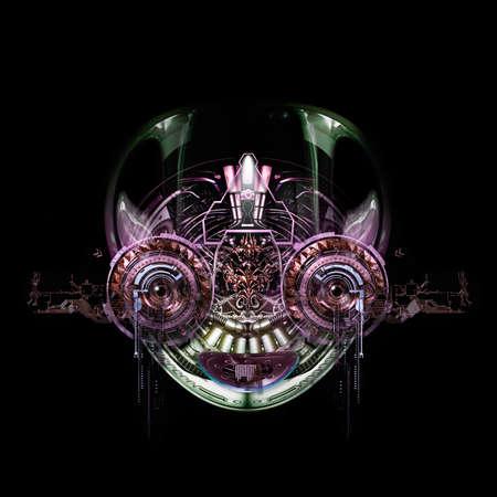 Vista frontale di un volto cyborg futuristico, illustrazione 3D Archivio Fotografico - 59848598