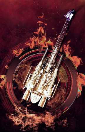 loud: A heavy metal guitar flying over Flames, 3D illustration Stock Photo