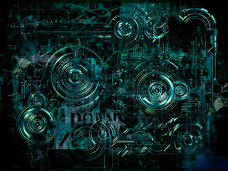 electronic board: A Technically electronic background with device objects, 3D illustration