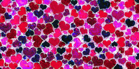 Many colored hearts in red, purple and pink