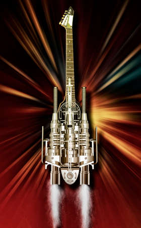 heavy metal: A heavy metal guitar flying over Flames, 3D illustration Stock Photo