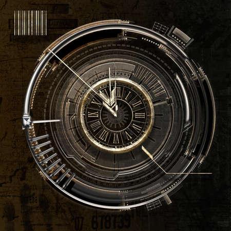 Symbolic clock at five to twelve, 3D illustration
