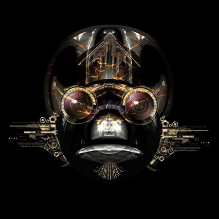 Vista frontale di un volto cyborg futuristico Archivio Fotografico - 65216006