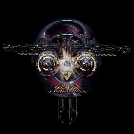 Frontansicht eines futuristischen Cyborg Gesicht Standard-Bild - 65216199