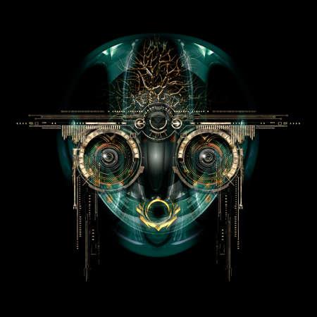 Vista frontale di un volto cyborg futuristico Archivio Fotografico - 65216202