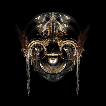 Vista frontale di un volto cyborg futuristico Archivio Fotografico - 65216206