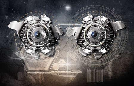 Cosmic scale gravitational generator in action, 3D illustration Stok Fotoğraf