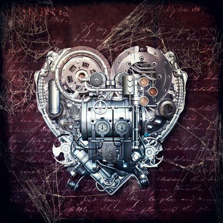 A technically mechanical heart at hard work, 3D illustration Archivio Fotografico