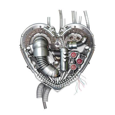 A technically mechanical heart at hard work, 3D illustration Stock Photo