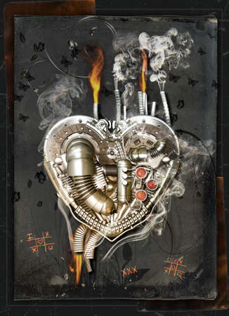 lovesickness: A mechanical heart has a lovesickness, 3D Illustration