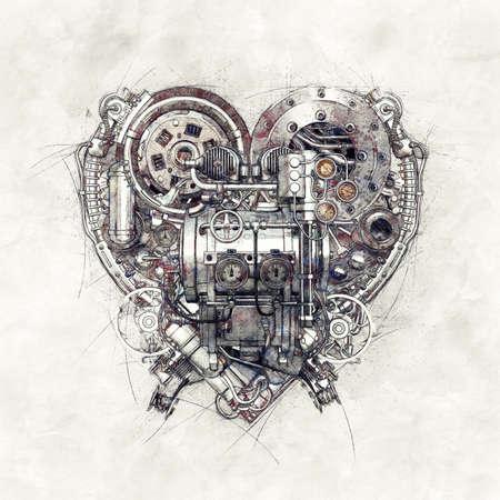 Sketch of a technical-mechanical heart, 3D Illustration Stok Fotoğraf