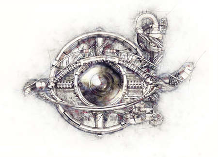 eye 3d: Sketch of a technical-mechanical eye, 3D Illustration