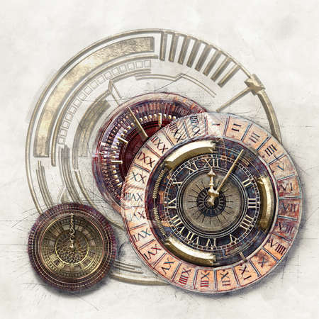 Technical and graphic elements and Timer, 3D illustration Stok Fotoğraf