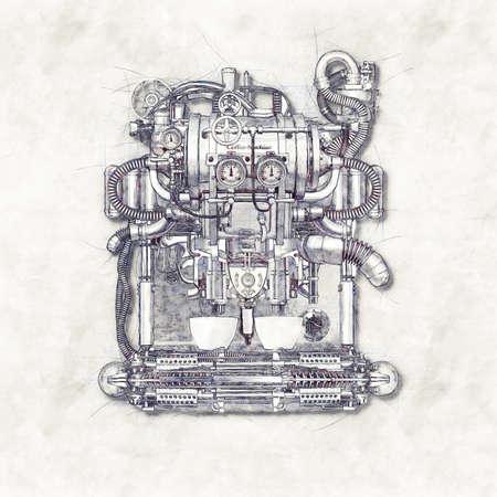Schizzo di una macchina per il caffè vecchio, illustrazione 3D Archivio Fotografico - 69891508