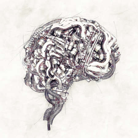Sketch of a mechanical brain in cross section, 3D Illustration