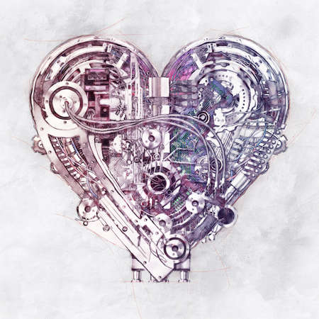 Sketch of a technically mechanical heart, 3D Illustration