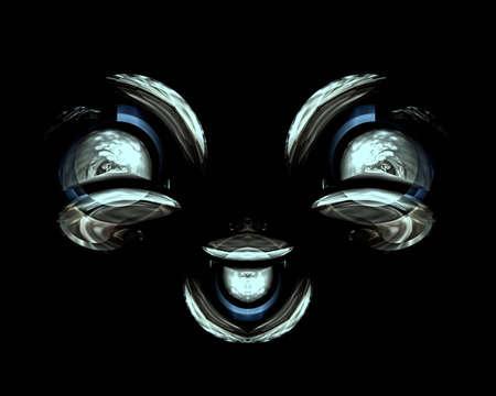 Lachendes Gesicht in Vorderansicht, stilisiert - 3D-Illustration Standard-Bild - 68196059