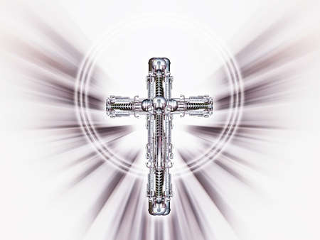 Crucifix of metal in front of star-shaped background, 3D illustration