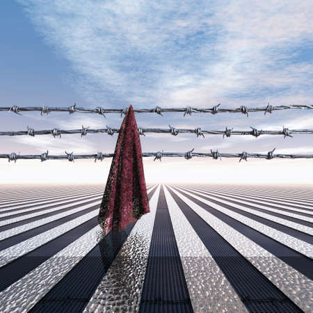 Closed frontier with barbed wire and cloth, 3D Illustration Archivio Fotografico