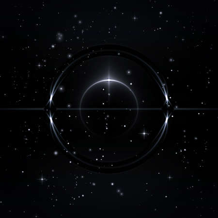 Mystical forms in the starry sky, 3D Illustration