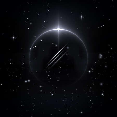 Mystische Formen in den Sternenhimmel, 3D-Illustration Standard-Bild - 69768422